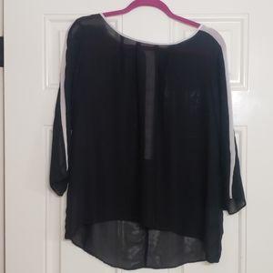 Sheer black dress top with cream stripe on sleeve